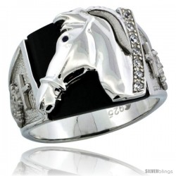 Sterling Silver Men's Black Onyx Horse Ring CZ Stones & Mariner Anchor on Sides, 5/8 in (16 mm) wide