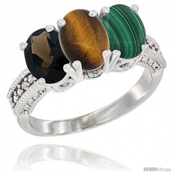 14K White Gold Natural Smoky Topaz, Tiger Eye & Malachite Ring 3-Stone 7x5 mm Oval Diamond Accent