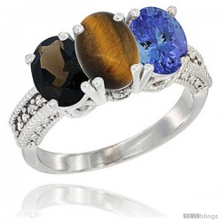 14K White Gold Natural Smoky Topaz, Tiger Eye & Tanzanite Ring 3-Stone 7x5 mm Oval Diamond Accent