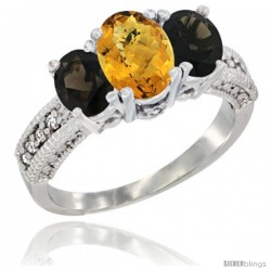 14k White Gold Ladies Oval Natural Whisky Quartz 3-Stone Ring with Smoky Topaz Sides Diamond Accent