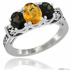 14K White Gold Natural Whisky Quartz & Smoky Topaz Ring 3-Stone Oval with Diamond Accent