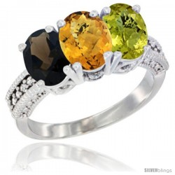 14K White Gold Natural Smoky Topaz, Whisky Quartz & Lemon Quartz Ring 3-Stone 7x5 mm Oval Diamond Accent