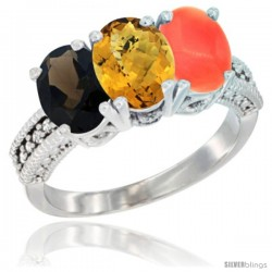 14K White Gold Natural Smoky Topaz, Whisky Quartz & Coral Ring 3-Stone 7x5 mm Oval Diamond Accent