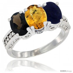 14K White Gold Natural Smoky Topaz, Whisky Quartz & Lapis Ring 3-Stone 7x5 mm Oval Diamond Accent
