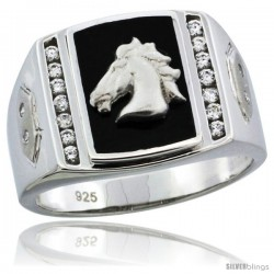Sterling Silver Men's Black Onyx Horse Ring CZ Stones & Hexagon Accents, 19/32 in (15 mm) wide