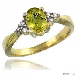14k Yellow Gold Ladies Natural Lemon Quartz Ring oval 7x5 Stone Diamond Accent -Style Cy427168