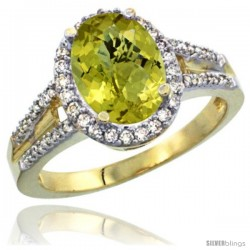 14k Yellow Gold Ladies Natural Lemon Quartz Ring oval 10x8 Stone Diamond Accent