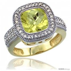 14K Yellow Gold Natural Lemon Quartz Ring Diamond Accent, Cushion-cut 9x9 Stone Diamond Accent