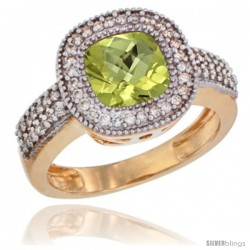 14k Yellow Gold Ladies Natural Lemon Quartz Ring Cushion-cut 3.5 ct. 7x7 Stone Diamond Accent