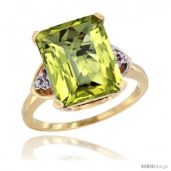 14k Yellow Gold Ladies Natural Lemon Quartz Ring Emerald-shape 12x10 Stone Diamond Accent