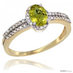 14k Yellow Gold Ladies Natural Lemon Quartz Ring oval 6x4 Stone Diamond Accent -Style Cy427178
