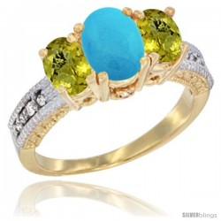 14k Yellow Gold Ladies Oval Natural Turquoise 3-Stone Ring with Lemon Quartz Sides Diamond Accent