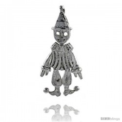 Sterling Silver High Polished Movable Clown Pendant