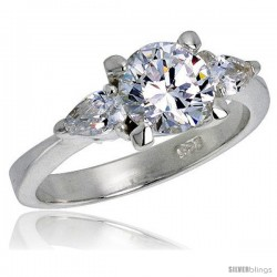 Sterling Silver 1.25 Carat Size Brilliant Cut Cubic Zirconia Bridal Ring -Style Rcz357