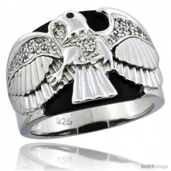 Sterling Silver Men's Black Onyx American Eagle Ring CZ Stones & Frosted Star Accents, 3/4 in (20 mm) wide