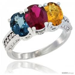 10K White Gold Natural London Blue Topaz, Ruby & Whisky Quartz Ring 3-Stone Oval 7x5 mm Diamond Accent