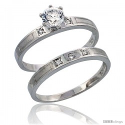 Sterling Silver 2-Piece CZ Engagement Ring Set, 1/8 in. (3 mm) wide