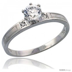Sterling Silver Solitaire CZ Engagement Ring, 1/8 in. (3 mm) wide