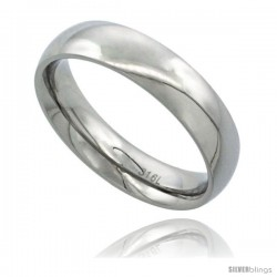 Surgical Steel 5mm Domed Wedding Band Thumb Ring Comfort-Fit High Polish