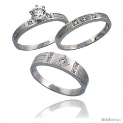 Sterling Silver 3-Piece Trio His (5.5 mm) & Hers (3 mm) CZ Wedding Ring Band Set