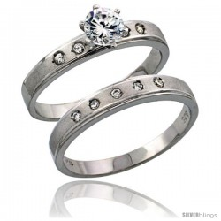 Sterling Silver 2-Piece CZ Engagement Ring Set, 5/32 in. (4 mm) wide -Style Agcz505e2