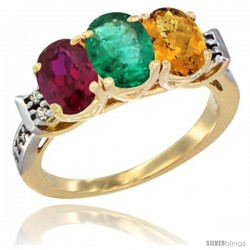 10K Yellow Gold Natural Ruby, Emerald & Whisky Quartz Ring 3-Stone Oval 7x5 mm Diamond Accent