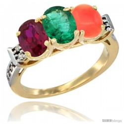 10K Yellow Gold Natural Ruby, Emerald & Coral Ring 3-Stone Oval 7x5 mm Diamond Accent