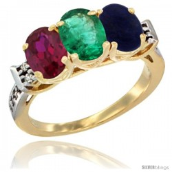 10K Yellow Gold Natural Ruby, Emerald & Lapis Ring 3-Stone Oval 7x5 mm Diamond Accent