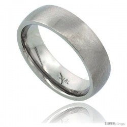 Surgical Steel 6mm Domed Wedding Band Thumb Ring Comfort-Fit Matte Finish