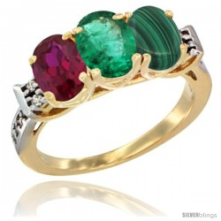 10K Yellow Gold Natural Ruby, Emerald & Malachite Ring 3-Stone Oval 7x5 mm Diamond Accent
