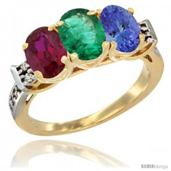 10K Yellow Gold Natural Ruby, Emerald & Tanzanite Ring 3-Stone Oval 7x5 mm Diamond Accent