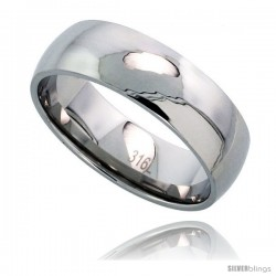 Surgical Steel Domed 8mm Wedding Band Thumb Ring Comfort-Fit High Polish