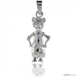 Sterling Silver High Polished Movable Cat Pendant