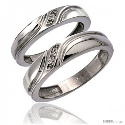 14k White Gold 2-Pc His (5mm) & Hers (4mm) Diamond Wedding Ring Band Set w/ 0.032 Carat Brilliant Cut Diamonds