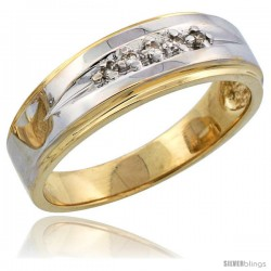 14k Gold Men's Diamond Band w/ Rhodium Accent, w/ 0.08 Carat Brilliant Cut Diamonds, 1/4 in. (7mm) wide -Style 14y113mb