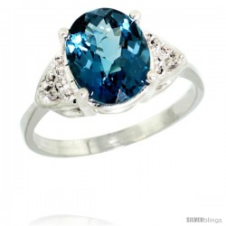 10k White Gold Diamond London Blue Topaz Ring 2.40 ct Oval 10x8 Stone 3/8 in wide