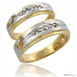14k Gold 2-Piece His (7mm) & Hers (5mm) Diamond Wedding Band Set w/ Rhodium Accent, w/ 0.16 Carat Brilliant Cut Diamonds