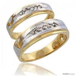 14k Gold 2-Piece His (7mm) & Hers (5mm) Diamond Wedding Band Set w/ Rhodium Accent, w/ 0.16 Carat Brilliant Cut Diamonds