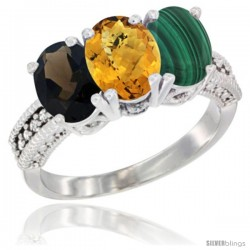 14K White Gold Natural Smoky Topaz, Whisky Quartz & Malachite Ring 3-Stone 7x5 mm Oval Diamond Accent