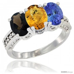 14K White Gold Natural Smoky Topaz, Whisky Quartz & Tanzanite Ring 3-Stone 7x5 mm Oval Diamond Accent