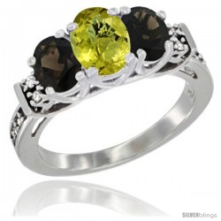 14K White Gold Natural Lemon Quartz & Smoky Topaz Ring 3-Stone Oval with Diamond Accent