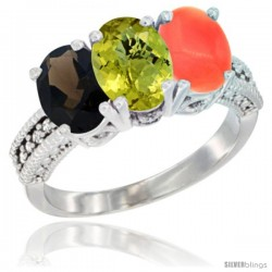 14K White Gold Natural Smoky Topaz, Lemon Quartz & Coral Ring 3-Stone 7x5 mm Oval Diamond Accent
