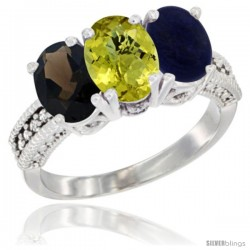 14K White Gold Natural Smoky Topaz, Lemon Quartz & Lapis Ring 3-Stone 7x5 mm Oval Diamond Accent