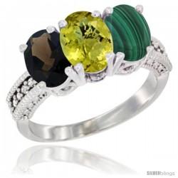 14K White Gold Natural Smoky Topaz, Lemon Quartz & Malachite Ring 3-Stone 7x5 mm Oval Diamond Accent