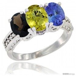 14K White Gold Natural Smoky Topaz, Lemon Quartz & Tanzanite Ring 3-Stone 7x5 mm Oval Diamond Accent