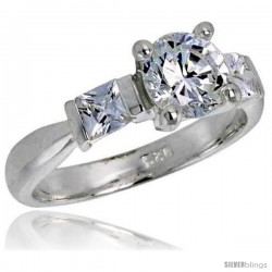 Sterling Silver 1 Carat Size Brilliant Cut Cubic Zirconia Bridal Ring