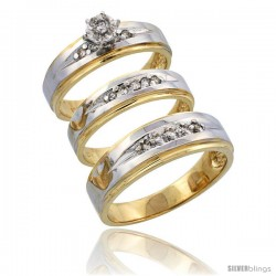 14k Gold 3-Piece Trio His (7mm) & Hers (5mm) Diamond Wedding Band Set w/ Rhodium Accent, w/ 0.28 Carat Brilliant Cut Diamonds