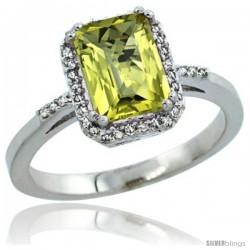 14k White Gold Diamond Lemon Quartz Ring 1.6 ct Emerald Shape 8x6 mm, 1/2 in wide -Style Cw427129
