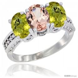 14K White Gold Natural Morganite Ring with Lemon Quartz 3-Stone 7x5 mm Oval Diamond Accent