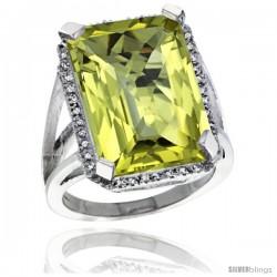 14k White Gold Diamond Lemon Quartz Ring 14.96 ct Emerald shape 18x13 mm Stone, 13/16 in wide